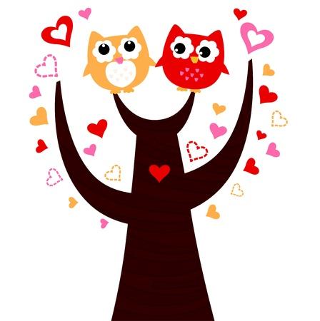 Sweet Owl couple in love. Vector cartoon Illustration Stock Vector - 19192396