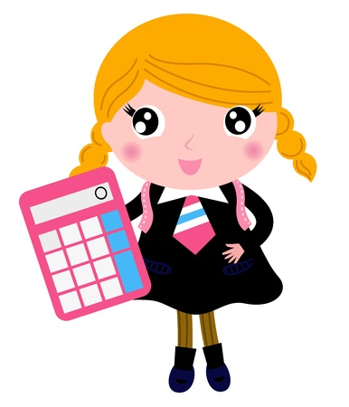 Cute girl in school uniform. Vector cartoon Illustration Vector