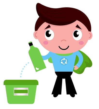 separacion de basura: Kid da la botella vacía en la papelera de reciclaje Ilustración