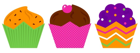 cupcakes isolated: Cute colorful Muffin set. Vector cartoon Illustration