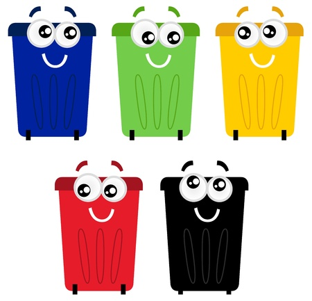 recyclable waste: Colorful garbage bin set. Vector Illustration