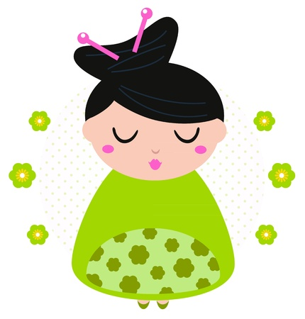 Cute beautiful spring Geisha. Vector Illustration Vector