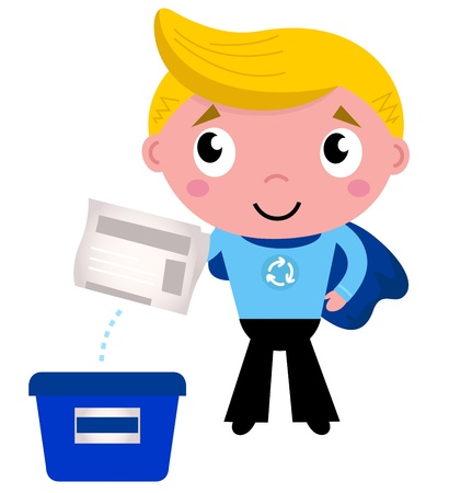 dispose: Little boy giving newspaper in recycle box. Vector Illustration