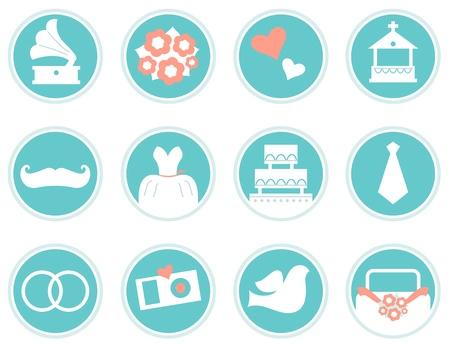 propuesta de matrimonio: Varios iconos de �poca de la boda fijados. Vector