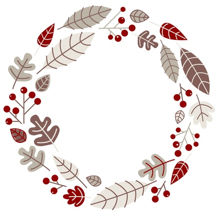 Retro xmas wreath with leaves and ashberry. Vector illustration Vector