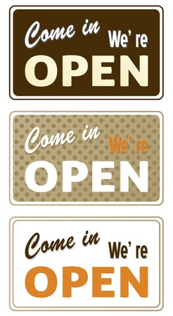 shop opening hours: Set of retro labels in different colors. Vector Illustration
