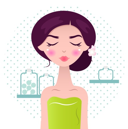 eyes closing: Cute wellness Woman with closing her eyes and flowers in hair on dotted circle background. Vector Illustration