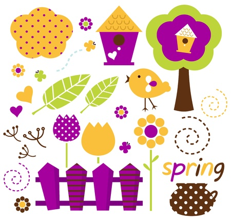 Spring retro floral design elements. Vector Vector
