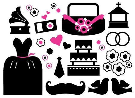 Wedding items silhouette - black and pink. Vector Vector