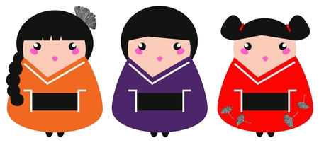 Colorful Geisha collection. Vector illustration Vector