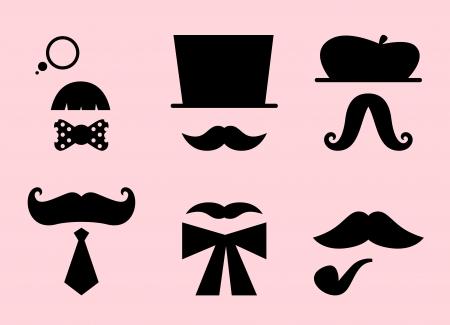 bigote: Bigotes y sombreros set. Ilustraci�n vectorial