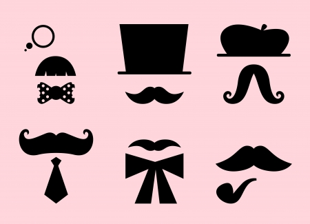 moustache: Mustaches and hats set. Vector Illustration