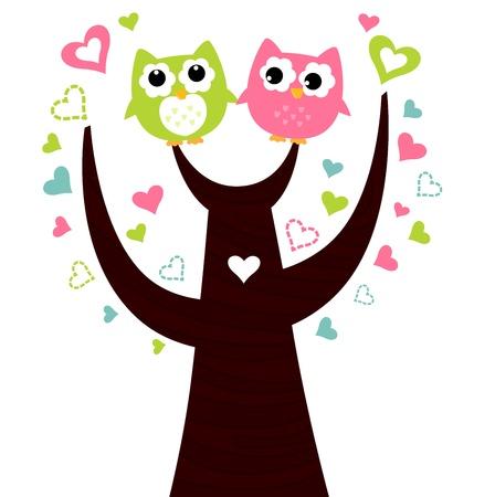 isolated owl: Dos pareja encantadora lechuza. Ilustraci�n vectorial
