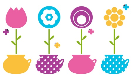 Colorful flowers in flower pots collection. Vector Illustration