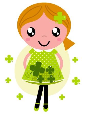Linda chica con tréboles de cuatro hojas. Ilustración vectorial