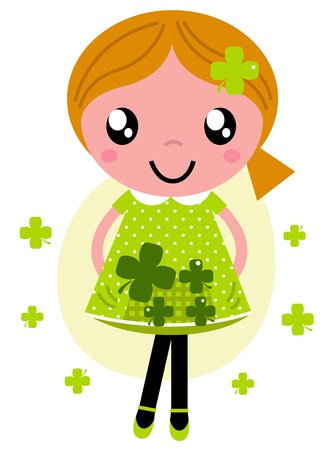 Cute girl with Four leaf clovers. Vector Illustration