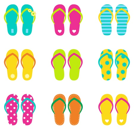 Colorful summer flip flops collection isolated on white. Vector Stock Illustratie