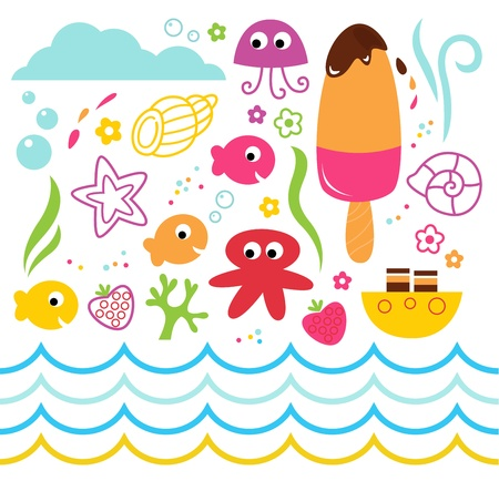 star clipart: Underwater design elements for your party. Vector Illustration