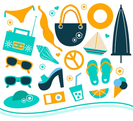 Various summer and vacation objects set. Vector Illustration Vector