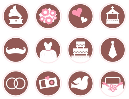 wedding cake: Wedding design elements - brown and pink. Illustration