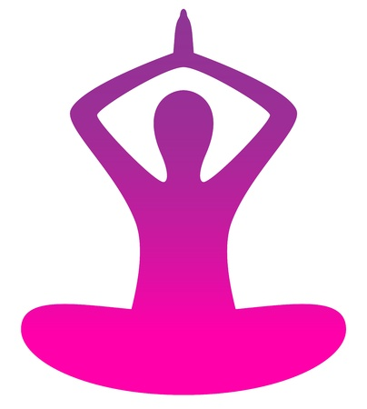 Female silhouette in yoga pose ( pink ) Stock Vector - 20044965