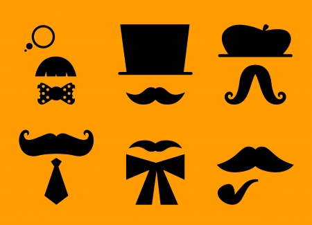 Mustaches and hats set. Illustration Vector