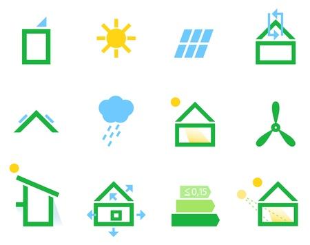 erneuerbar: Energieeffiziente Häuser-Icons. Illustration