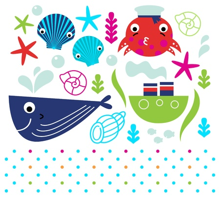 Sea animals and design elements mix.  Illustration Vector