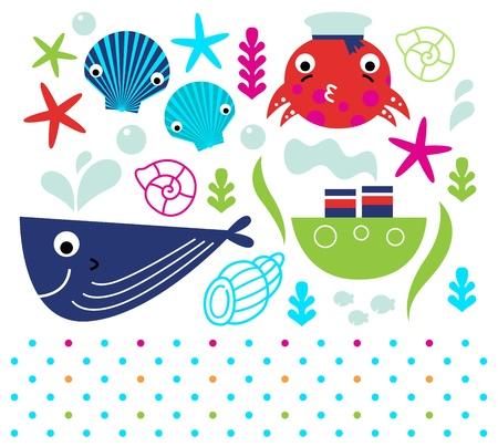 sea mammal: Sea animals and design elements mix.  Illustration