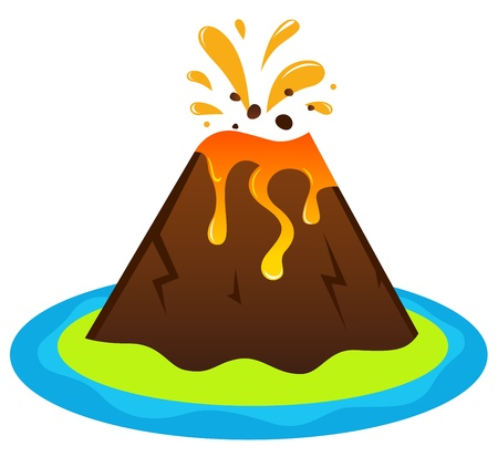volcano eruption: Exotic volcano island.  illustration