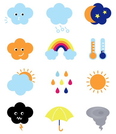 Weather elements collection. Illustration Vector