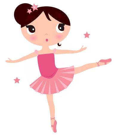 Piękna dziewczynka baletnicą. Ilustracja cartoon