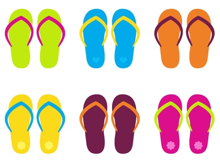 sandals isolated: Beautiful flip flop mix in fresh colors. Illustration