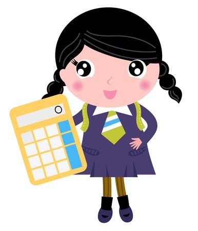 cartoon school girl: Cute girl in school uniform.  cartoon Illustration Illustration