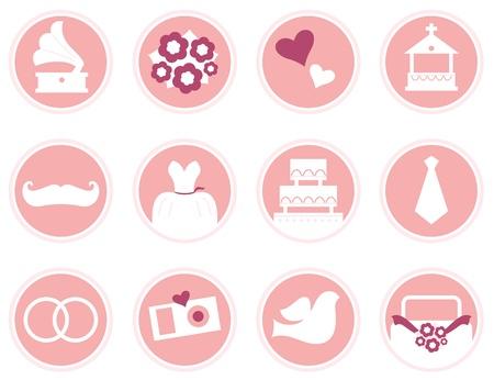 Various vintage wedding icons set.