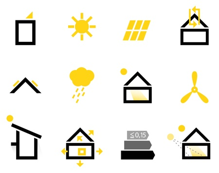 solar house: Energy efficient houses icons set  Illustration