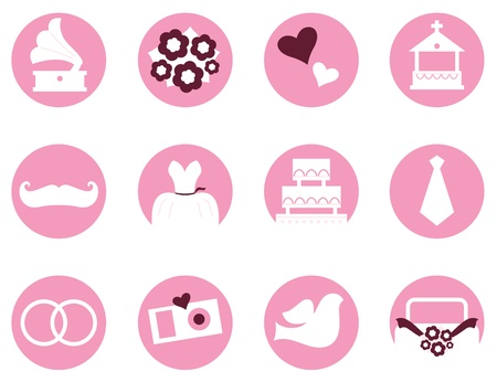 Various vintage wedding icons set   Vector