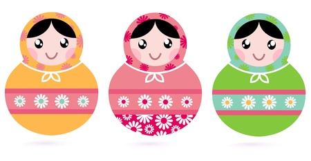 Traditional floral Russian Matryoshka dolls.  Vector