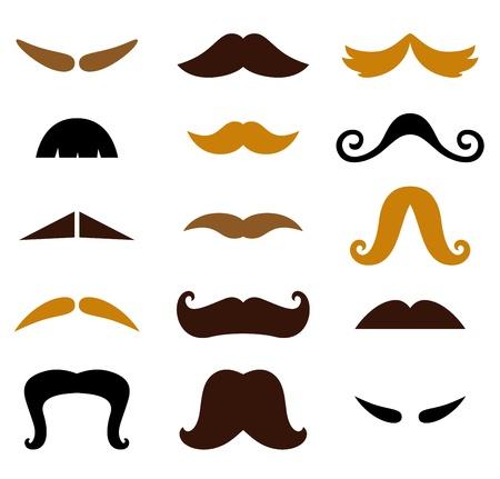 fake mustaches: Retro Mustaches Hipster set. Vector Illustration