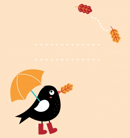 Autumn greeting Card with fallen leaves and black Bird with copy space. Vector Illustration  Vector
