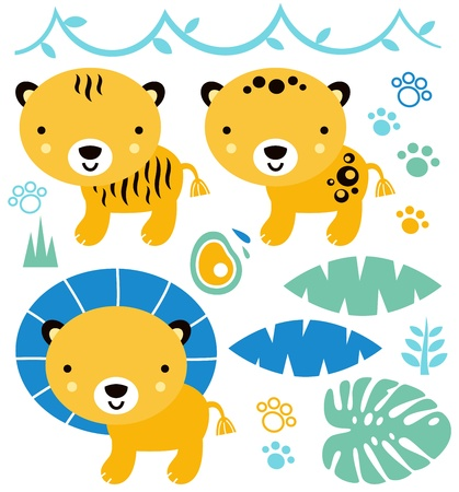 Safari baby animals collection. Vector Illustration