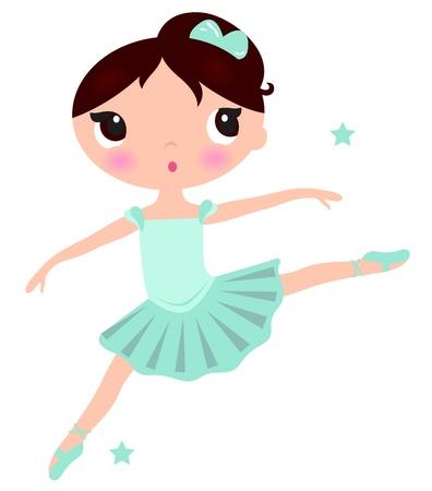 ballet dancing: Piccola ballerina in posa salto. Illustrazione vettoriale Vettoriali