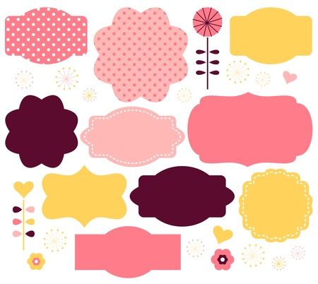 Cute vintage or retro labels collection. Vector