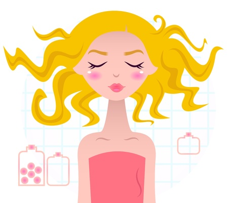 Sweet Blond wellness woman with beautiful hair. Vector Illustration. Vector