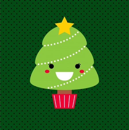 Merry Christmas Kawaii tree. Vector Illustration  Vector