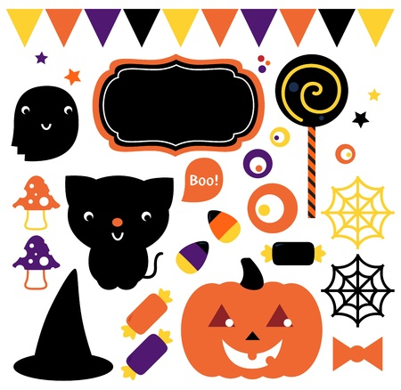 Cute halloween design elements.  Illustration Vector