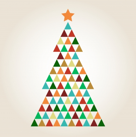 Xmas colorful mosaic tree with triangle shapes. Illustration