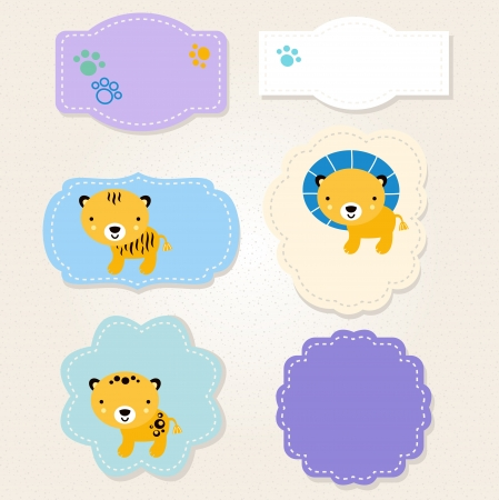 Beautiful stylized Animal tags for baby Vector