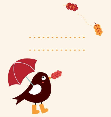 Autumn greeting Card Bird holding umbrella