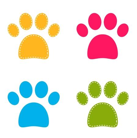 huellas de perro: Colecci�n colorida de las patas del perrito.